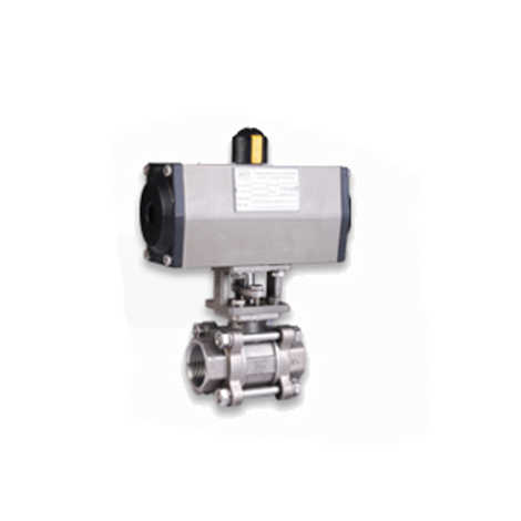ISO 5211 PNEUMATIC DOUBLE ACTING ACTUATOR OPERATED SCREWED END METAL SEATED 2 WAY SS 304 BALL VALVES