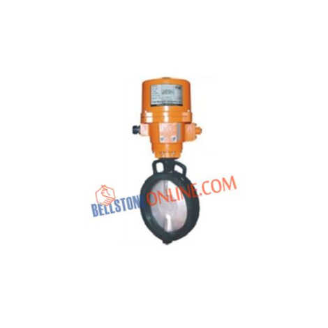 ON-OFF TYPE ELECTRICAL SINGLE PHASE 220V AC OPERATED CAST IRON BODY BUTTEFLY VALVES WITH NITRILE RUBBER MOULDED WITH KEY TYPE MAUNAL OVERIDE