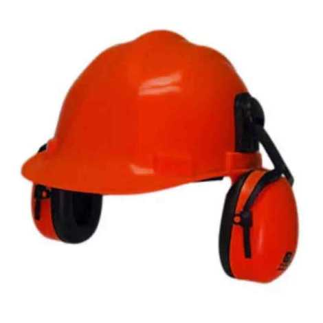 SAFETY HELMET WITH EAR MUFF RED COLOR