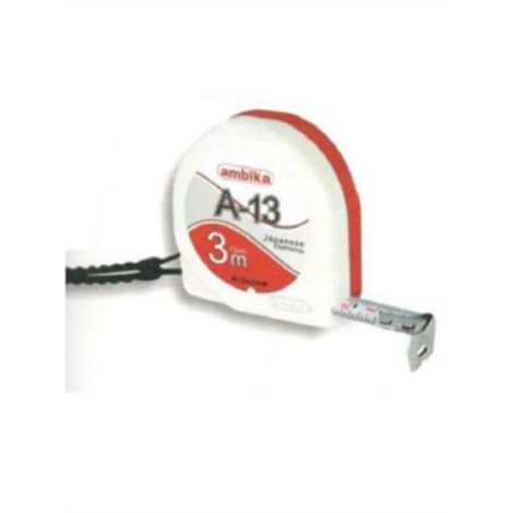 ambika size 3mtr 13mm with clip and card steel measuring tape