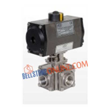 """ISO 5211 PNEUMATIC ACTUATOR DOUBLE ACTING OPERATED SS 316 BALL VALVES """"3 WAY"""" SCREWED END WITH HOLLOW BALL"""