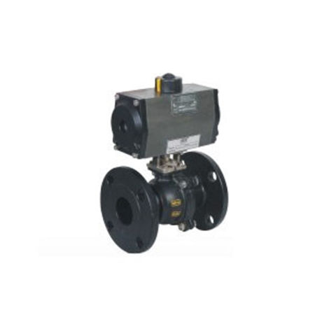 PNEUMATIC ACTUATOR DOUBLE ACTING 2 WAY WCB BALL VALVE FLANGED END 150 CLASS 3 PIECE DESIGN WITH HOLLOW BALL