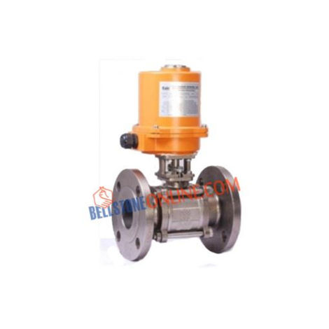 SS 304 BALL VALVES 3 PIECE DESIGN FLANGED ON-OFF TYPE SINGLE PHASE 220V AC OPERATED INVESTMENT CASTING WITH KEY TYPE MANUAL OVERRIDE