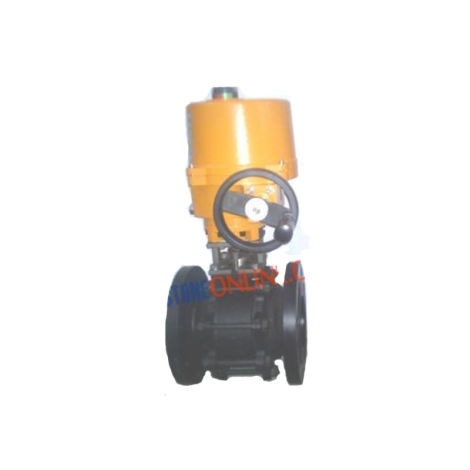 CS 3 BALL VALVES PIECE DESIGN FLANGED ON-OFF TYPE SINGLE PHASE 220V AC OPERATED INVESTMENT CASTING WITH WHEEL TYPE MANUAL OVERRIDE