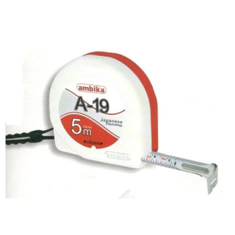 ambika size 5mtr 19mm with clip and card steel measuring tape