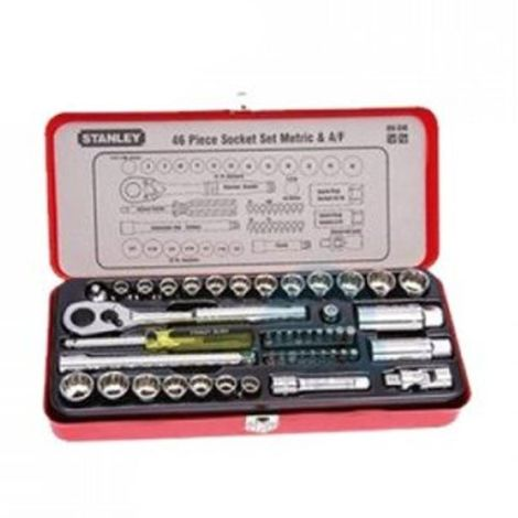 STANLEY MECHANIC TOOLS - 46 PIECE 1/4 & 3/8 DRIVE SOCKET & BIT SET