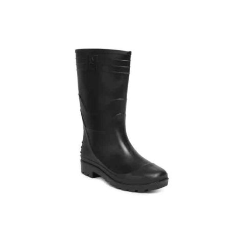 Hillson 12 Inch Welcome Plain Toe Black Gumboots