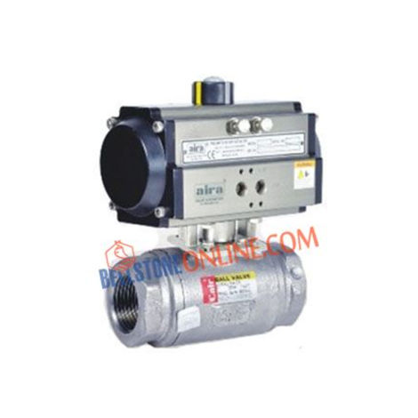 """ISO 5211 PNEUMATIC DOUBLE ACTING ACTUATOR OPERATED """"HIGH PRESSURE""""HIGH TEMPERATURE2 WAY SS BALL VALVES SCREWED END"""