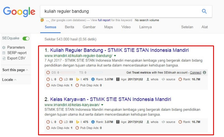 Kuliah Reguler Bandung