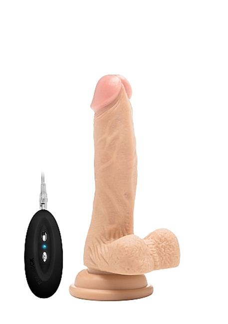 Real Rock© - 18 cm - Vibrerende Realistic Cock - Med Pung og remote (7