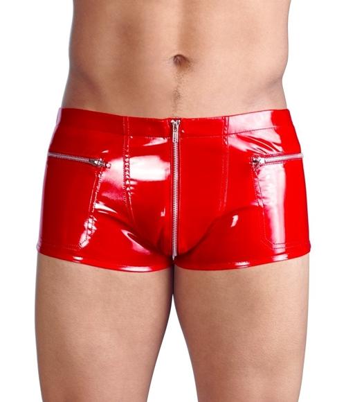 Black Level - Vinyl Pants for him - Røde vinyl shorts