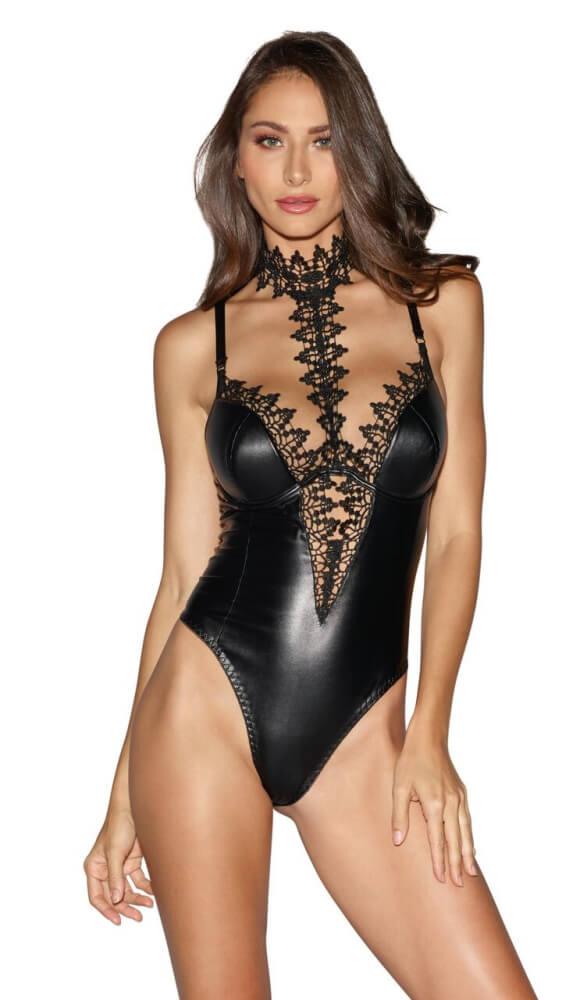 Dreamgirl - Body i Läder-look med vackert spets - Style 10985 - Svart