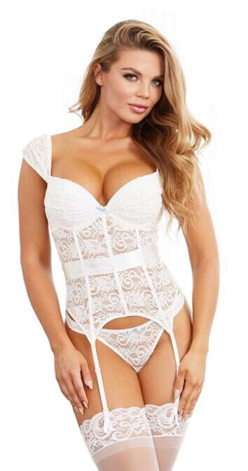 Dreamgirl - Blonde corsage med hofteholder - Style 10520-32 - Hvid