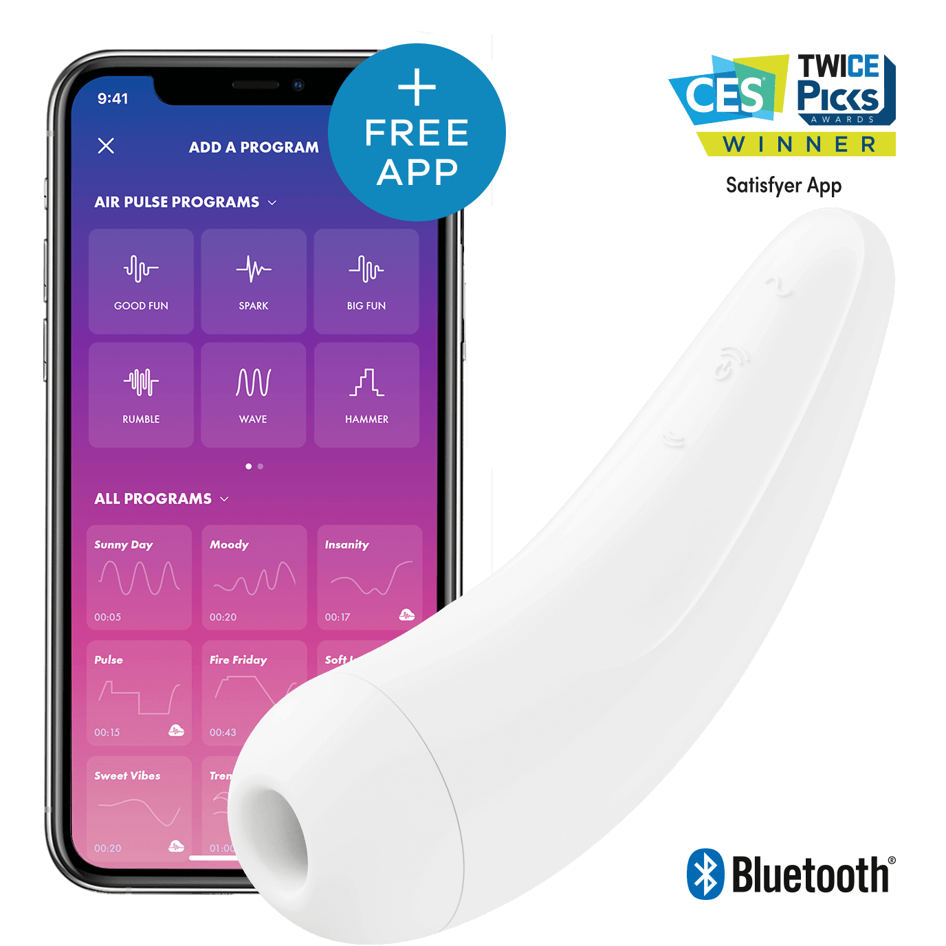 Satisfyer Curvy 2+ AIR Pulse Stimulartor App-controlled Hvit