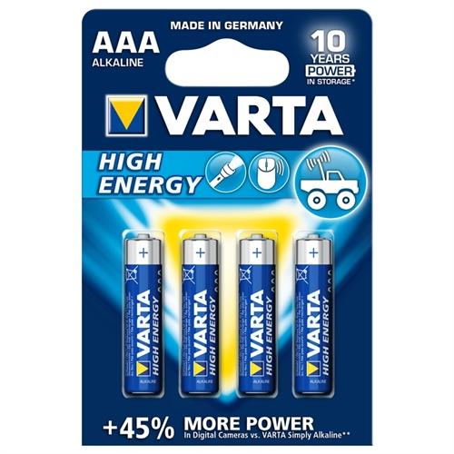 4 stk. AAA VARTA High Energi kvalitetsbatterier - Alkaline