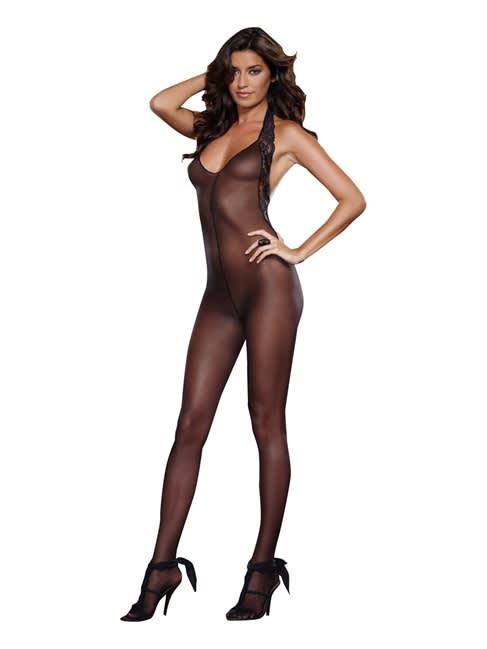 Dreamgirl - Ferrara - Bodystocking - Style 0128 - Sort - One Size