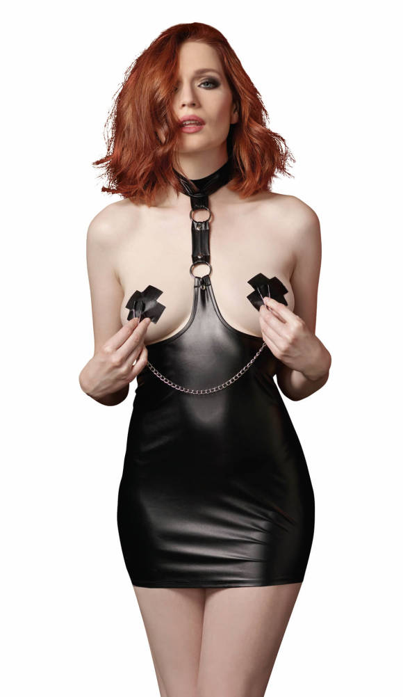 Dreamgirl - Sort harness chemise - åben ved bryst.