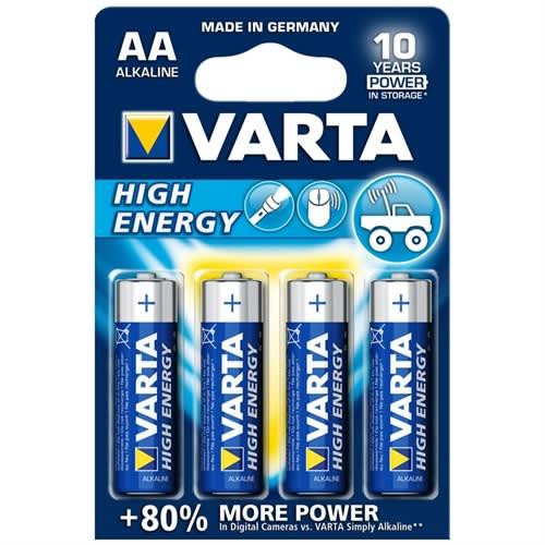 4 kpl VARTA AA High Energy Alkaliparistot (1.5V)