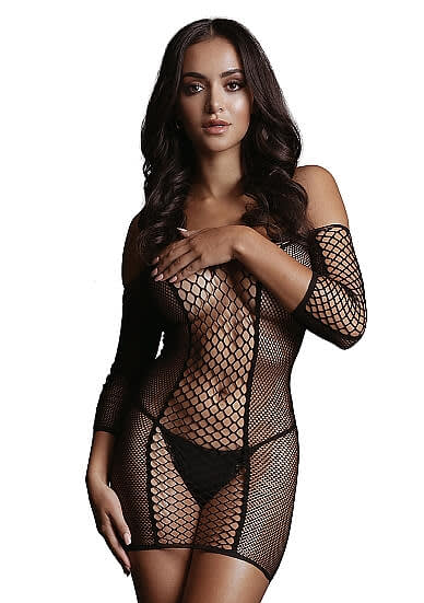 LE DÉSIR Duo Net Sleeved Mini Dress