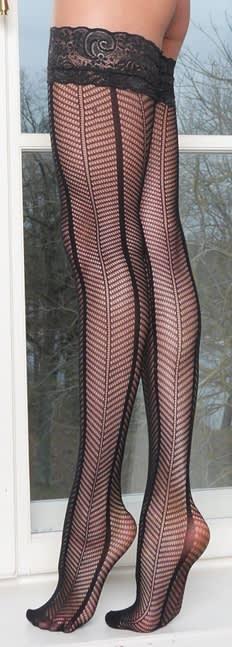 Master of Desire - Cate - Strømper med blonder og sorte linjer