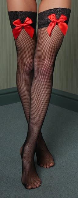 Master of Desire - Hannah - Selvsiddende strømper med røde sløjfer