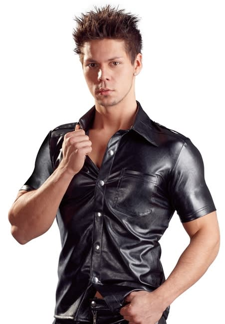 Svenjoyment - Imitation Leather Men´s Shirt - Skjorta i läderimitation