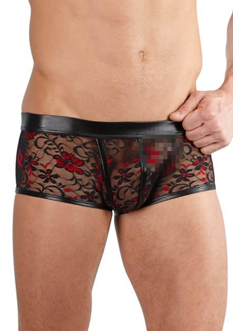 Svenjoyment - Men's Pants - Korta boxershorts i spets och läderlook