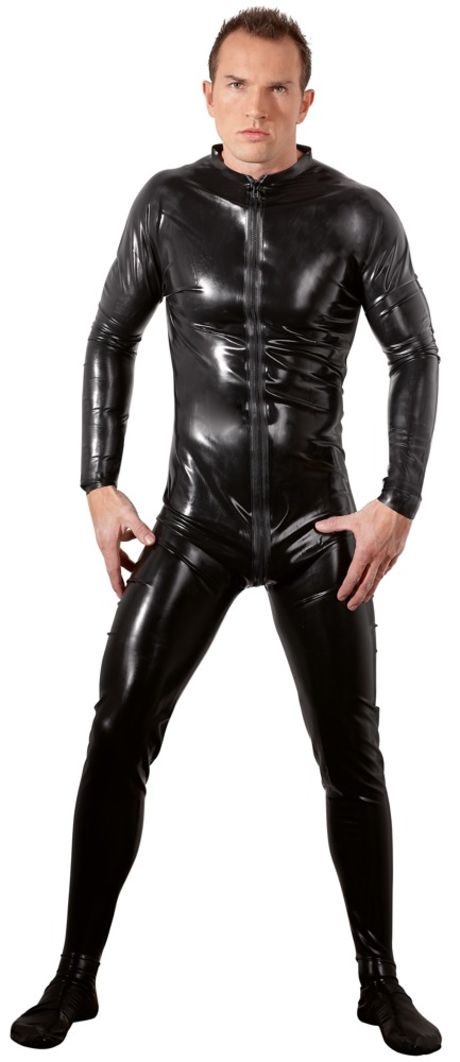 Late X - Latex Men's Jumpsuit black - Latex heldragt til mænd