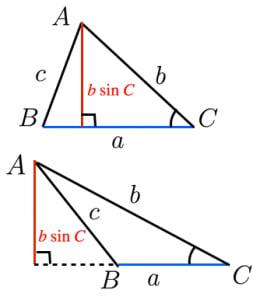 サインを用いた面積公式の証明