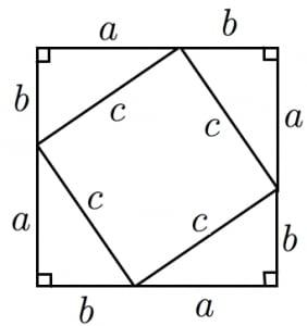 正方形を用いた三平方の定理の証明