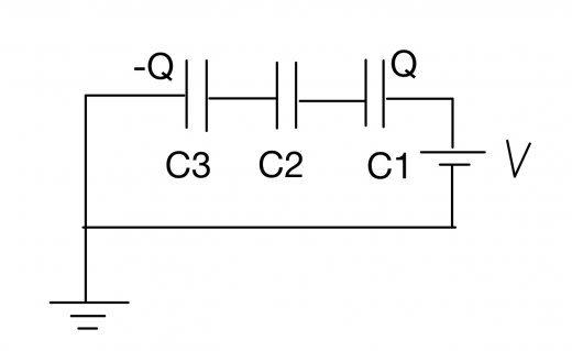電気量保存則 発展例題 直列コンデンサー