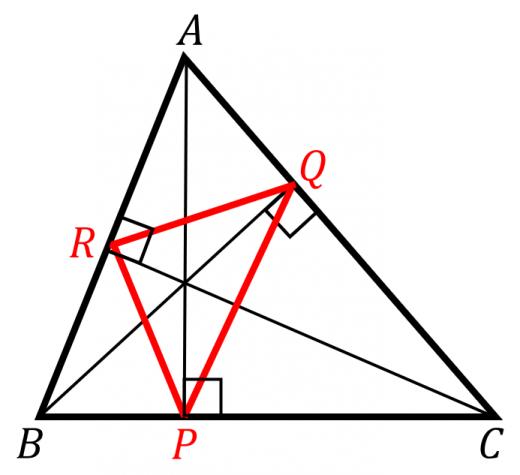 垂足三角形の周の長さ