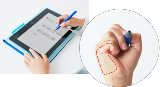 タブレットに手をおいた状態での画像イメージ