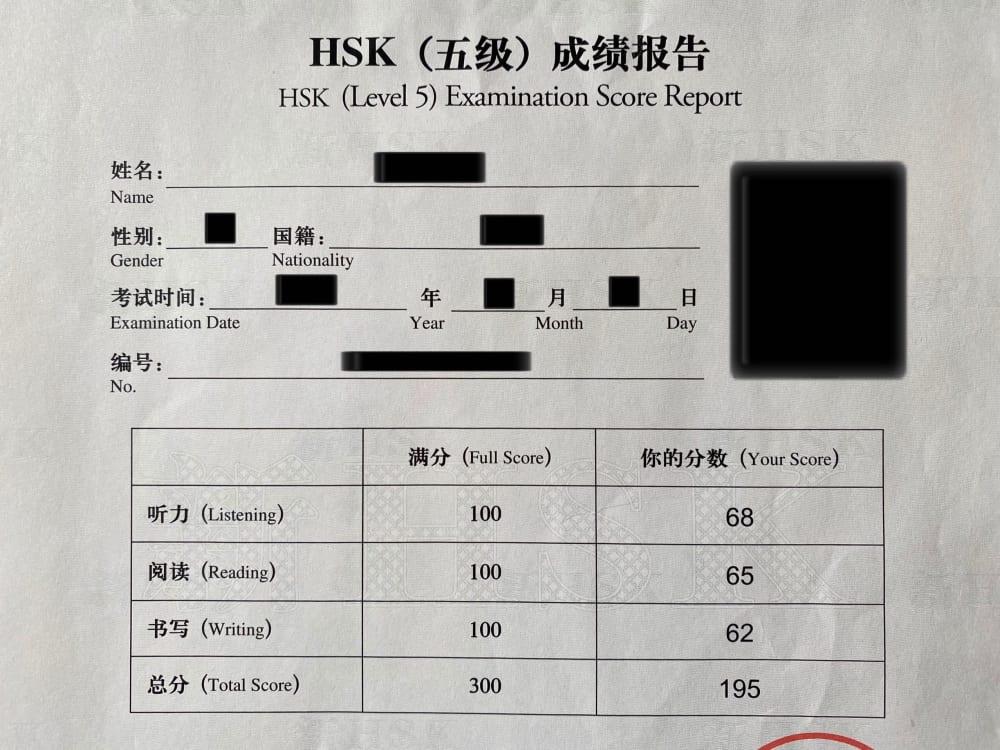 HSK5級の合格証明書