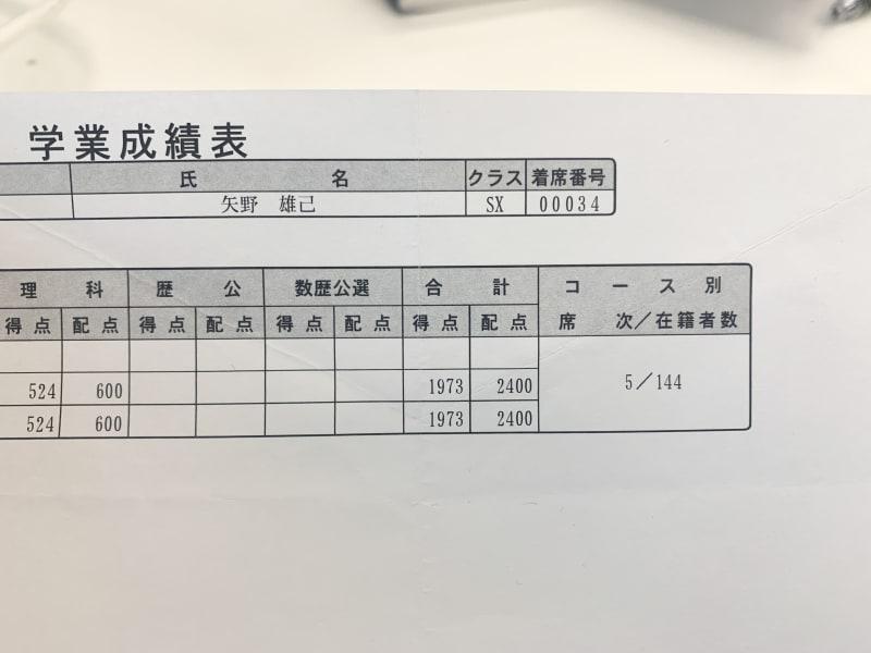 前期の駿台模試の学業成績表
