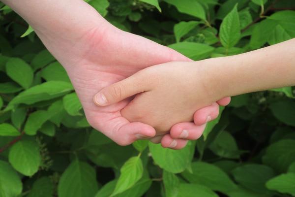 握手する親子