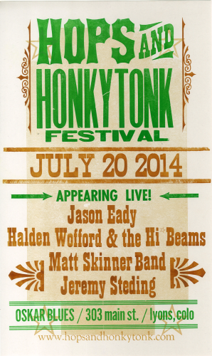 Hops and Honky Tonk Festival, 2014. Poster handprinted by Brian Wood.