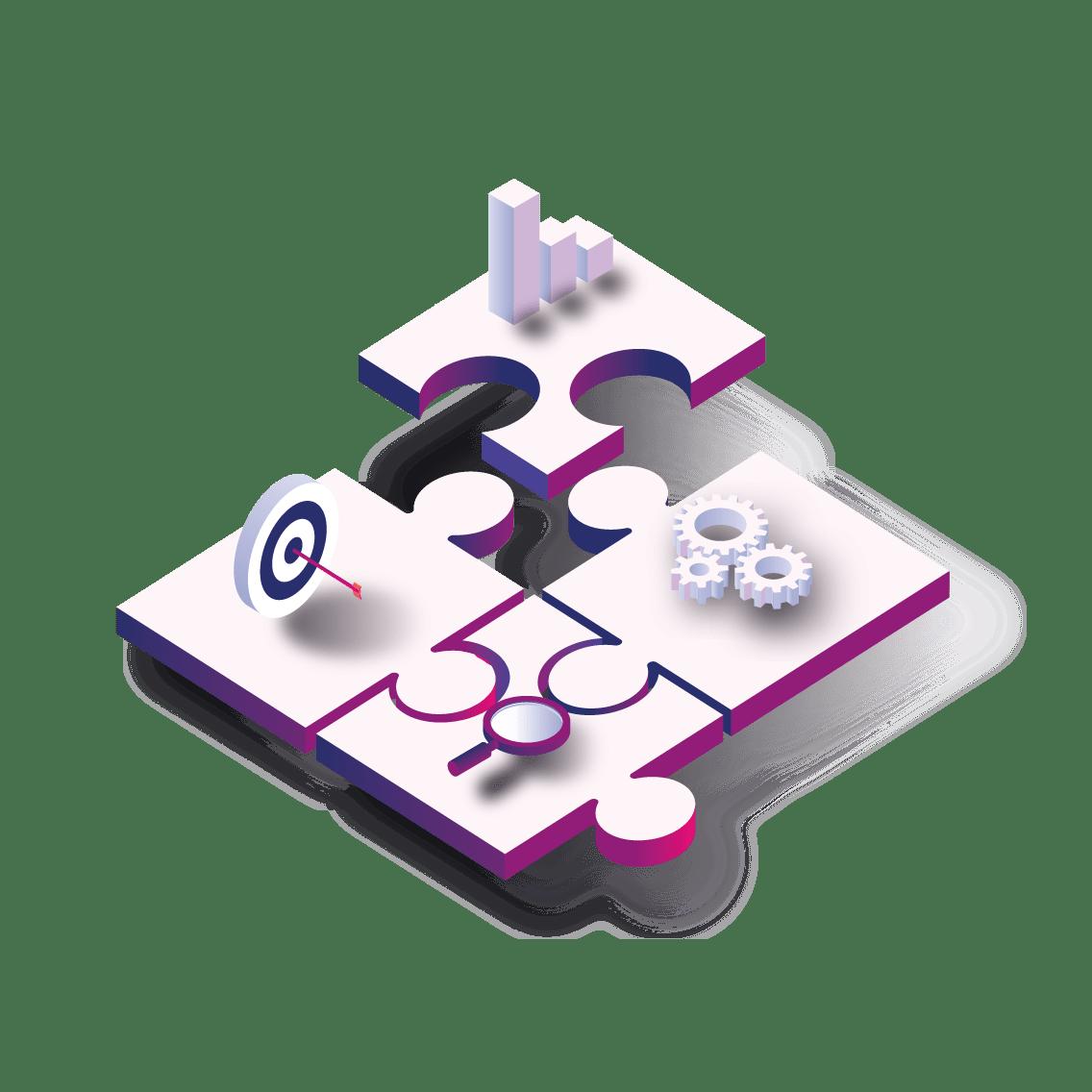 4 pièces d'un puzzle en train d'être assemblés