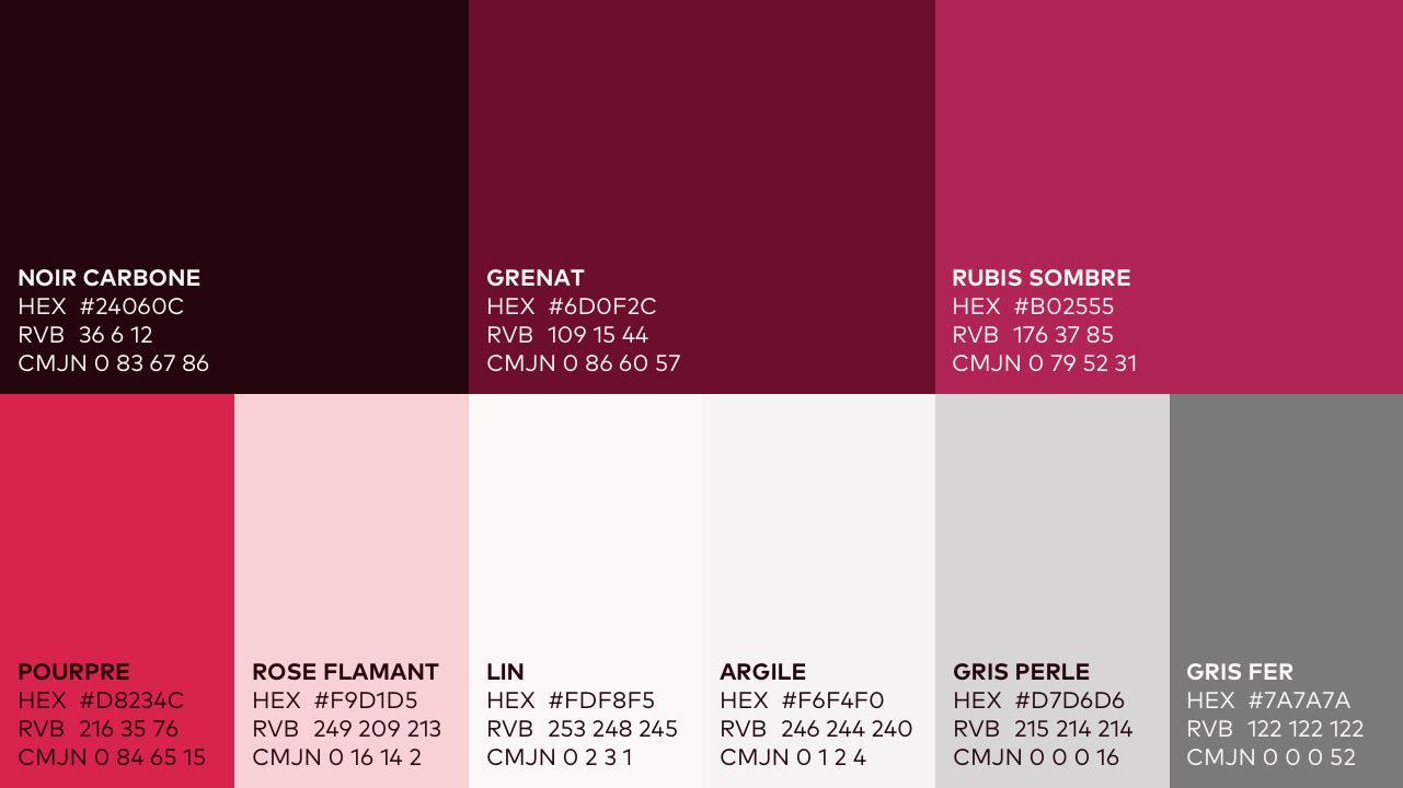 palette de couleurs du projet du domaine du mas de rey