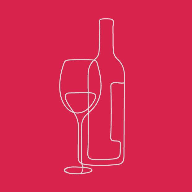 dessin d'un verre de vin et un verre en fil de fer