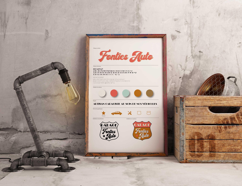 tableau présentant des éléments de l'indentité visuelle de Fonties Auto au milieu d'objets vintage