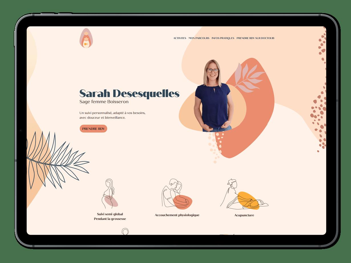 Home page du site Sage-femme Boisseron présenté sur un iPad
