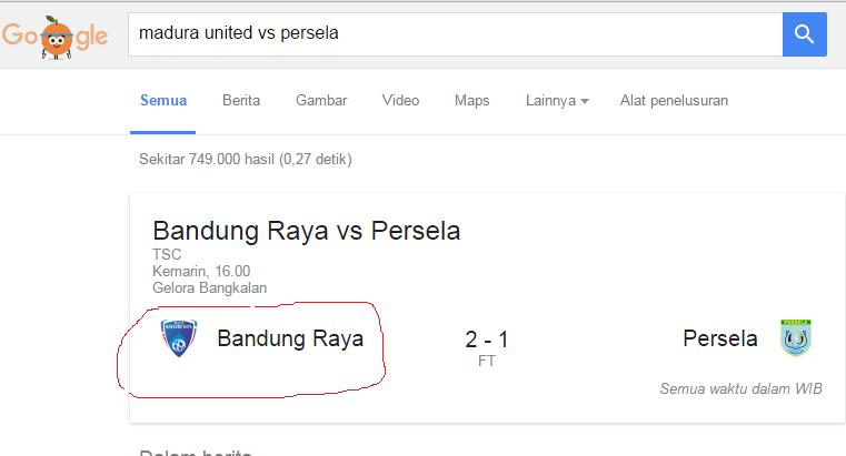 Fakta mengejutkan, Madura United dianggap Bandung Raya oleh Google