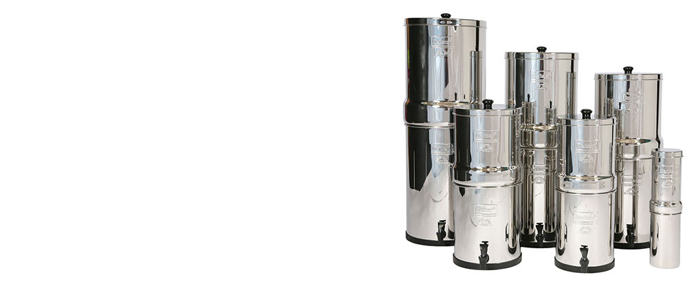 The complete range of stainless steel Berkey water filter systems.