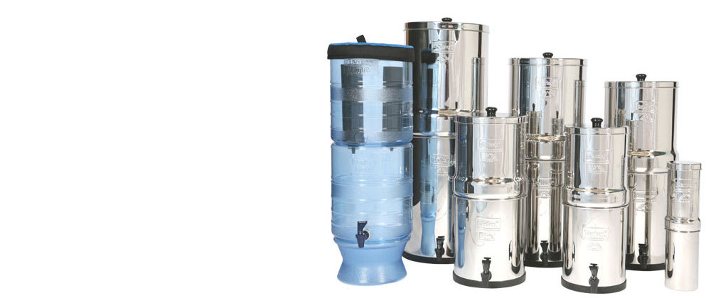 The complete range of Berkey water filter systems.