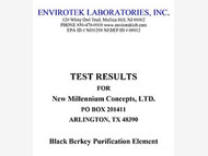 Envirotek Lab Test Results