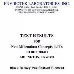 Résultats de tests d'Envirotek Laboratories