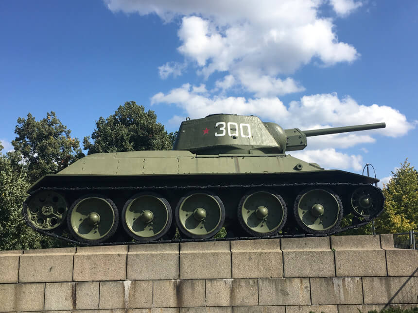 Tank of the Russian Memorial of Tiergarten in Berlin