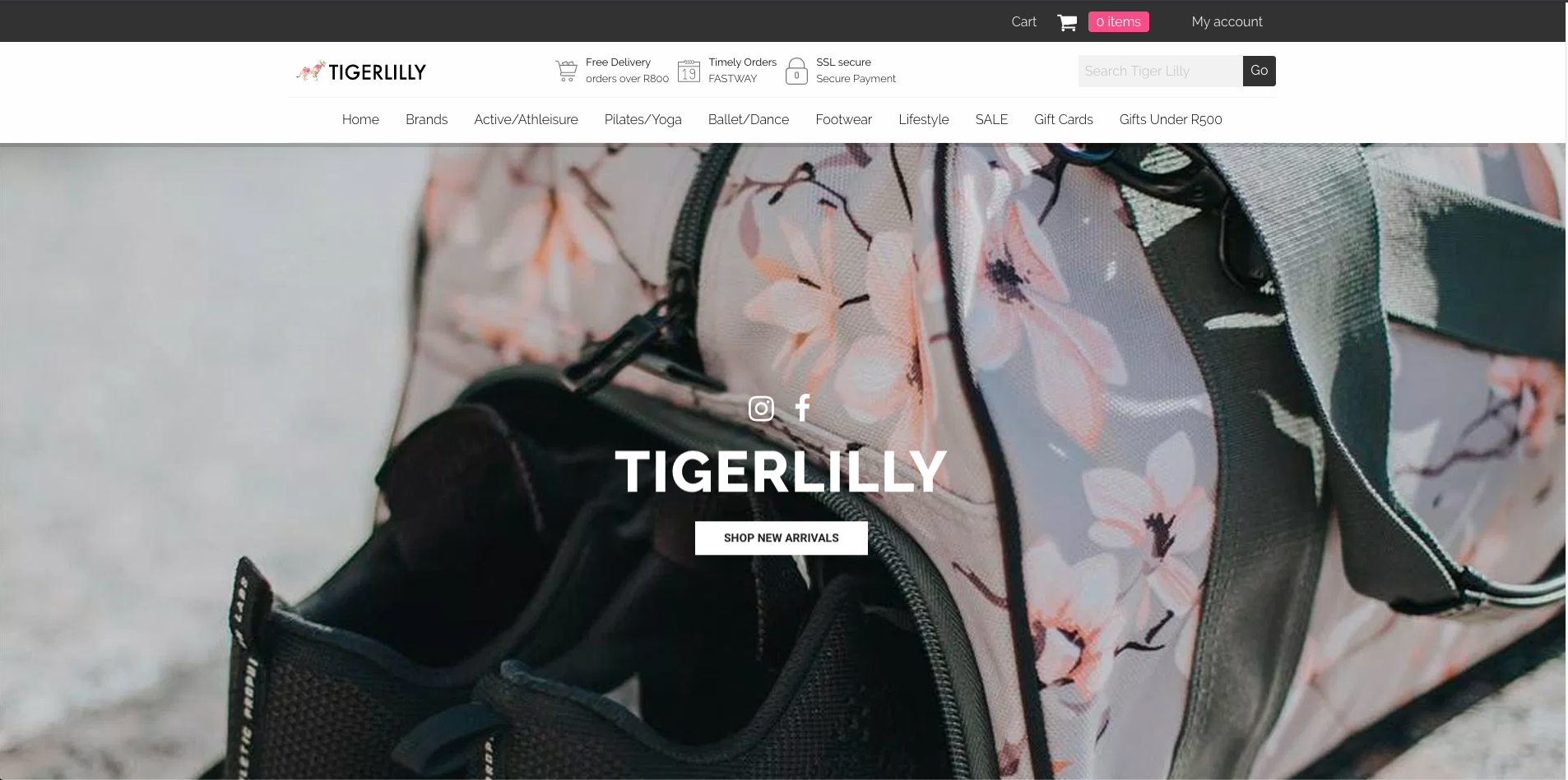 Hero Section Tiger Lilly Dancewear eCommerce store