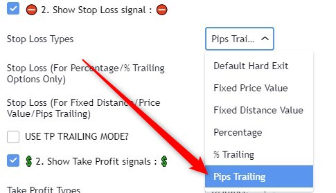 Trailing pips using the Trade Manager